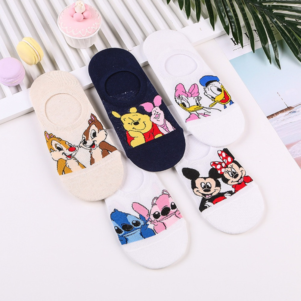 Cartoon Stitch duck mouse   socks   squirrel fashion fun cute anime women   sock   spring summer breathable invisible cotton short   socks