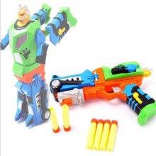 2016 New Children's Soft Bullet Gun Dual Mode of The Deformation Robot Fired Bullets Children Outdoor Fun Sports Toys Pistol Gun