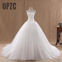 Hot Sale 0 8M Court Train Wedding Dress 2016 Cheap Celebrity Strapless Vintage Tulle Bridal Ball