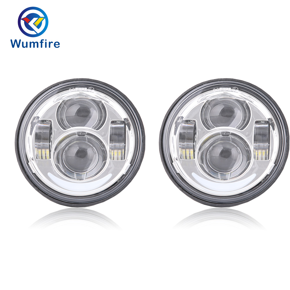 2PCS 5 inch Fat Bob Led HeadLight For Harley Motorcycle For Dyna Fat Bob Dual Headlamp Daymaker Double LED Headlights With DRL