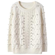 SRUILEE de alta calidad perla Beading suéter 2018 nuevo invierno Jersey de  las mujeres suéter de rayas de punto otoño Jersey de . a78b48fa2697