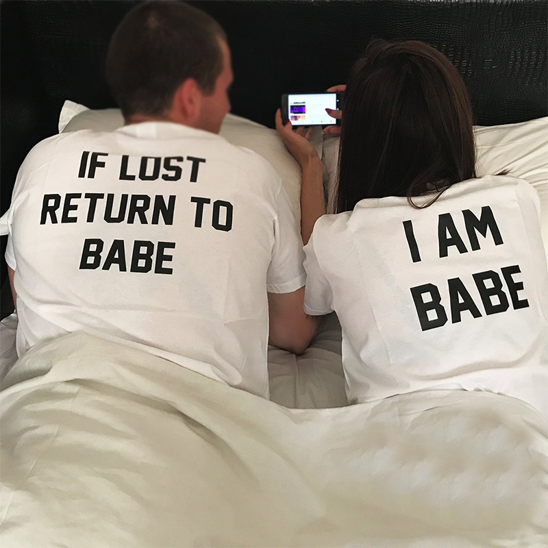2019 Women Tops Cute I Am Babe Printed Couple Clothes White T Shirts Women Tshirt Vintage Plus Size Valentine 39 s Day in T Shirts from Women 39 s Clothing