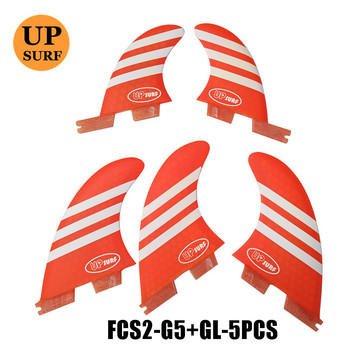 New Surf Fin G5+GL FCS2 Surfboard Fin 5 in Per Set Tri-Quad Orange/blue Colors Surf Fins in Surfing FCSII Fins