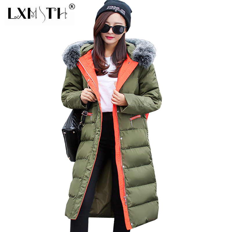 New Long Winter Female Jackets Hooded Thick Faux Fox Fur Collar Female Jacket Warm Slim Jackets For Women Pocket Feminine Coat 2017 winter new clothes to overcome the coat of women in the long reed rabbit hair fur fur coat fox raccoon fur collar