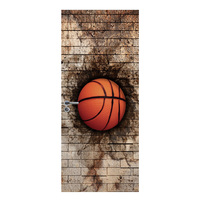 2Pcs 38.5 X 200cm Personality Decorative 3D Sticker Creative Door Sticker Brick Wall Basketball/Old Wooden Door