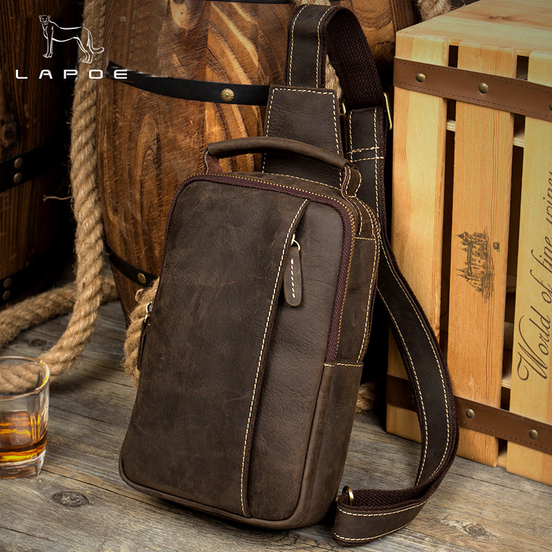 Men Vintage Crazy Horse Leather chest crossbody bag Casual men messenger bags chest waist pack genuine leather messenger bag men