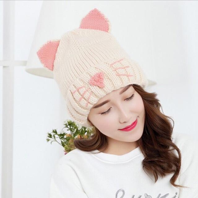 Mingjiebihuo Nouvelle automne et d hiver bonnet de laine chat oreilles  tricoté laine chapeau plus de velours épais chaud à tête femmes filles€ 7,52 0aeebd803a6