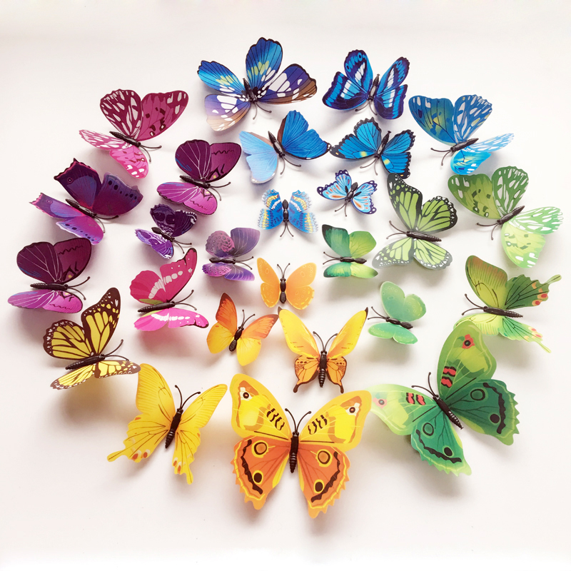 12 Unid 3D Mariposas En La Pared Pegatinas Home Decor Wall Poster Art Adhesivo Sticker Wedding Decor Vinilo Tatuajes de Pared Muursticker