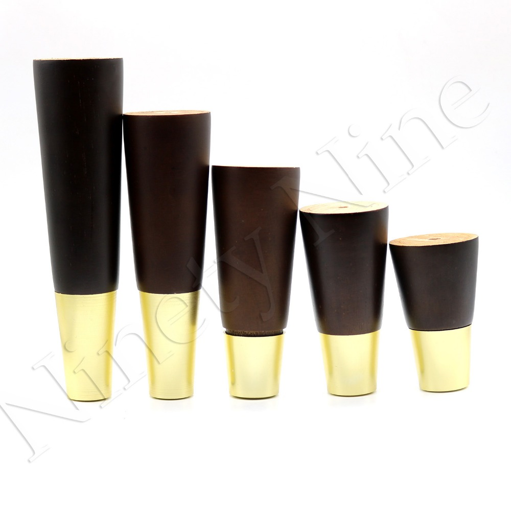 Image 3 - 4Pcs Walnut Color Natural Wood Reliable Wood Walnut Furniture Leg Cone Shaped Wooden Feet for Cabinets Soft Table-in Furniture Legs from Furniture