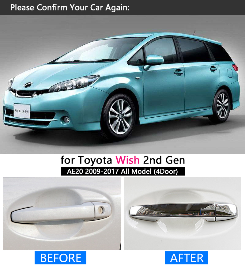 For Toyota Wish AE20 2010 2011 2012 2013 2014 2015 2016 2017 Chrome Car Door Handle Cover Pad Sticker Overlay Styling