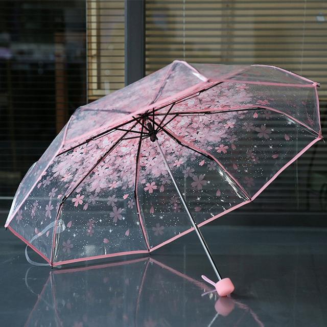 Fancytime Romantic Women Kids Umbrella Rain Women Transparent Umbrella 3 Folding Classic Cherry Paraugas Clear Umbrella