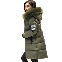 women winter jacket plus size 2017 army green womens jacket thick Fur Hooded long Down Cotton Padded Female Coat Parka