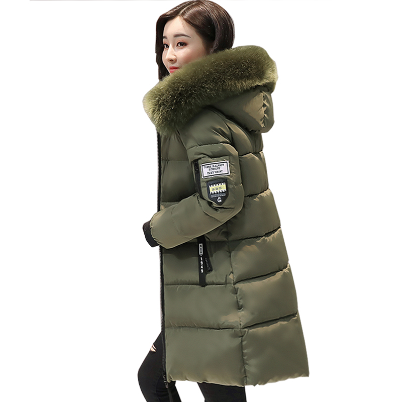 women winter jacket plus size 2017 army green womens jacket thick Fur Hooded long Down Cotton Padded Female Coat Parka new 2015 autumn winter outdoors medium long fleece jacket fur hooded army green parka men thickening coat 10