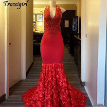 2019 Newest Red Halter Mermaid Prom Dresses Sleeveless Appliques with Sequined Evening Gowns 3D Flower Long Carpet Dress