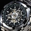 2016 Marca VENCEDOR Moda Esqueleto Dial Automatic Men Mecânica Relógios Taquímetro Aço Inoxidável Banda Relógio de Pulso do Esporte Presente