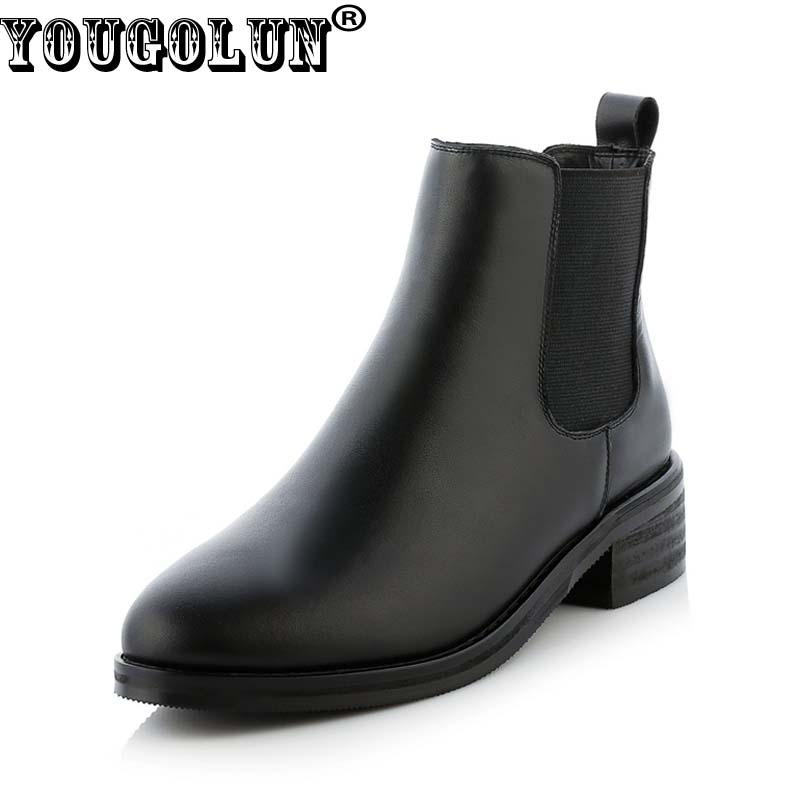 YOUGOLUN Women Ankle Boots 2017 Spring Autumn Genuine Leather Lady Mid Square Heel 4 cm Heels Woman Black Round toe Shoes #Y-241 yougolun women ankle boots 2017 autumn black genuine leather square heel 5 cm heels thick heel round toe platform shoes y 061
