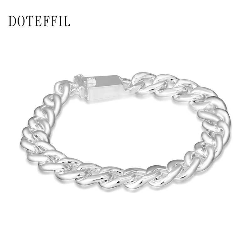 10mm bransoletka ze srebra próby 925 kolor mężczyźni bransoletka ze srebra próby 925 biżuteria 20CM wiodąca kwadratowa klamra platerowana srebrną bransoletką prezent