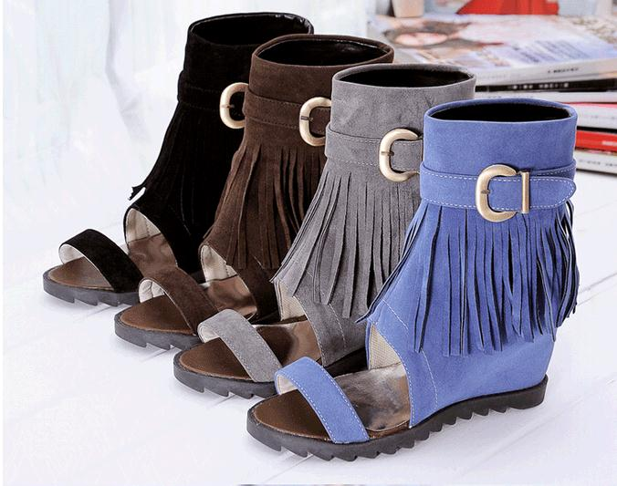 Sandals Flock Tassel Open Toe High Heeled 2017 New Spring And Summer Fashion Boots Mid Calf