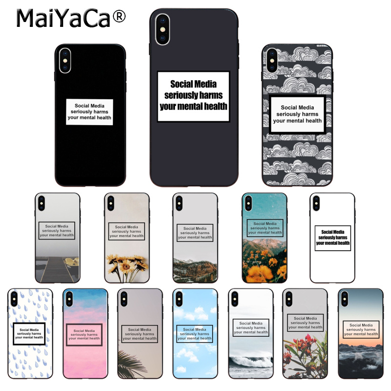 MaiYaCa Social Media seriously harms your mental health Phone Case for Apple iPhone 8 7 6 6S Plus X XS MAX 5 5S SE XR Cover image