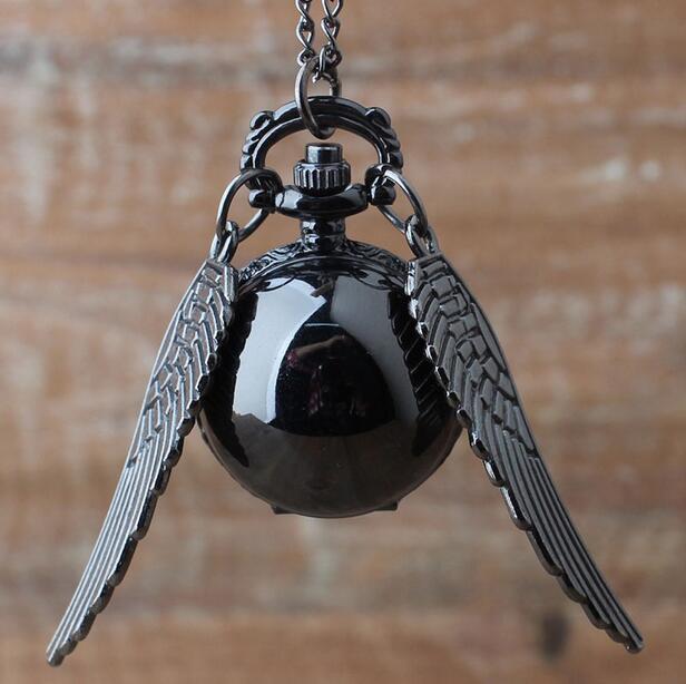 Vintage Bronze Steampunk Harry potter Black Snitch ball pocket watch necklace ch