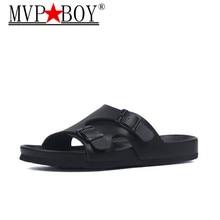 MVP BOY 2019 Fashion Men Flats Flip Flops Beach Slippers Summer Buckle Non-slip Outside EVA PU Leather Slide Shoe Big size 35-45
