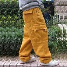 Artı boyutu Hip Hop Joggers Sweatpants erkekler ve kadın Streetwear büyük cep kargo pantolon rahat düz gevşek Baggy pantolon