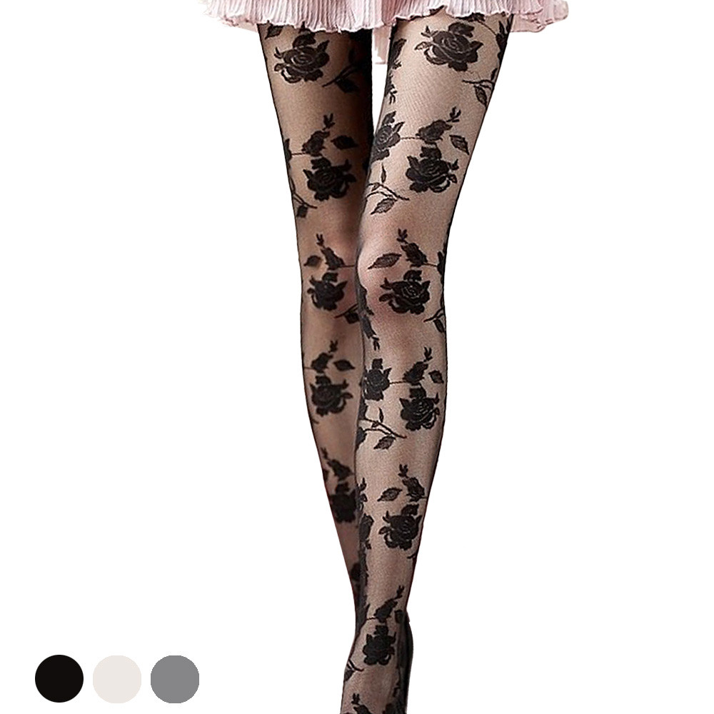 2017 New Hot Women Fashion Rose Pattern Tight Lace Pantyhose Sexy See-through Stockings &Wholesale
