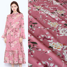 145cm printed fabric meter micro-perspective chiffon fabric material soft shirt dress polyester pink fabric wholesale cloth(China)