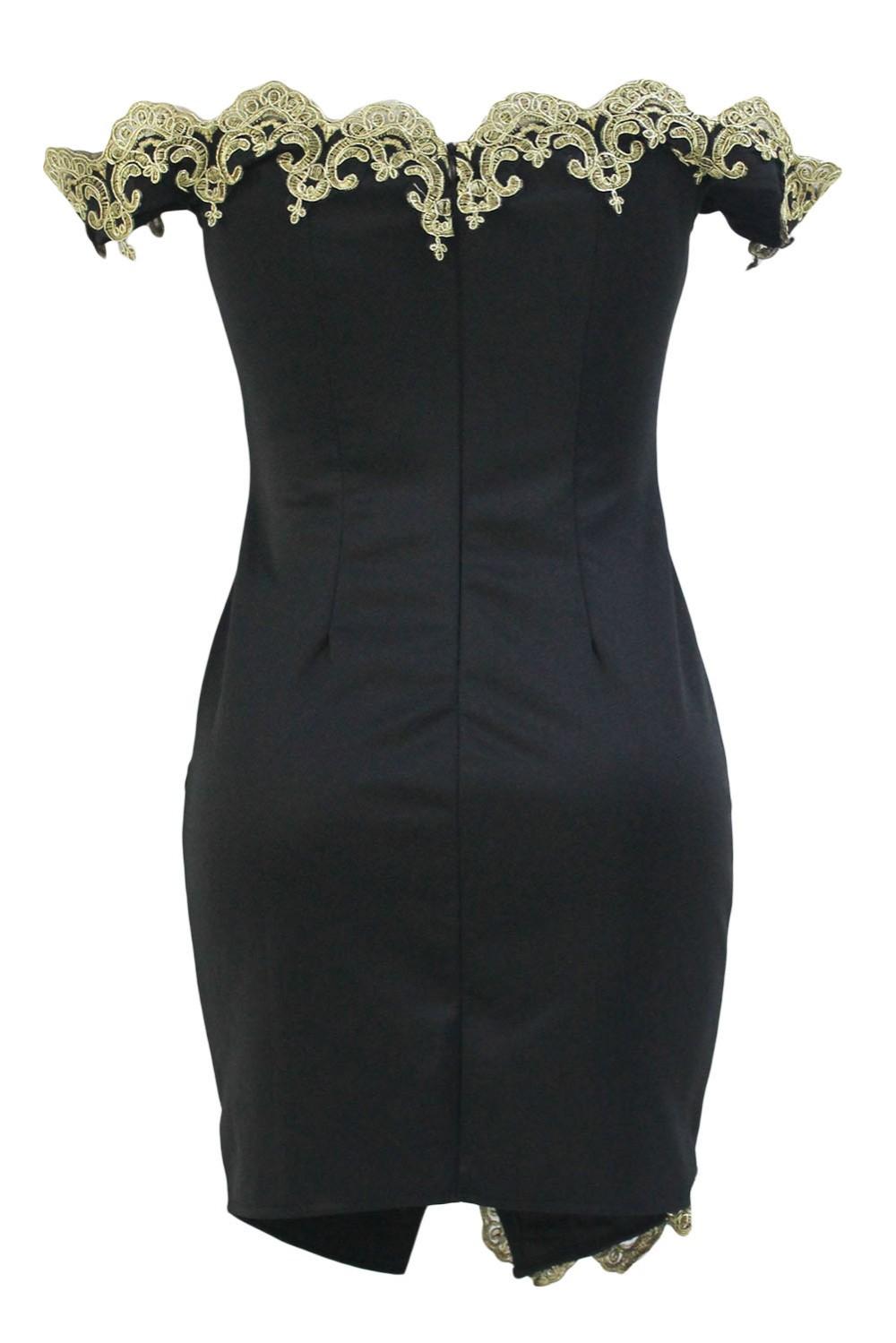 Gold-Lace-Applique-Black-Off-Shoulder-Mini-Dress-LC22715-2-3