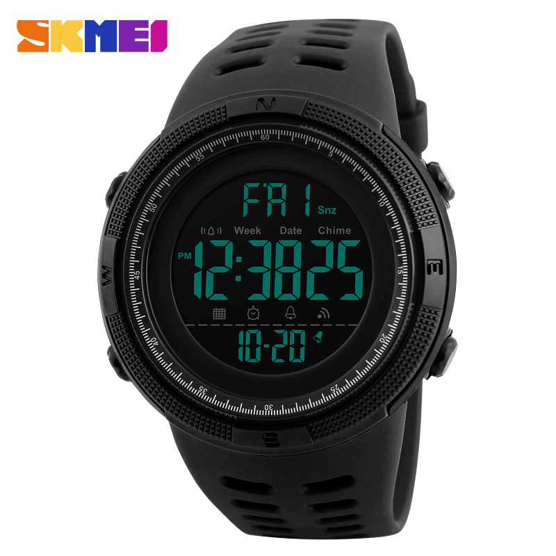 SKMEI Herre Sportsure Countdown Dobbelt Time Watch Alarm Chrono Digital Armbåndsure 50M Waterproof Relogio Masculino 1251
