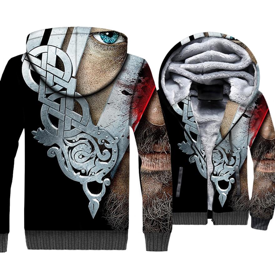 Fashion Men 39 s Jackets VIKINGS 3D Pattern Brand Clothing 2018 Autumn Winter Thick Coats Punk Sweatshirts For Men Hip Hop Hoodies in Hoodies amp Sweatshirts from Men 39 s Clothing