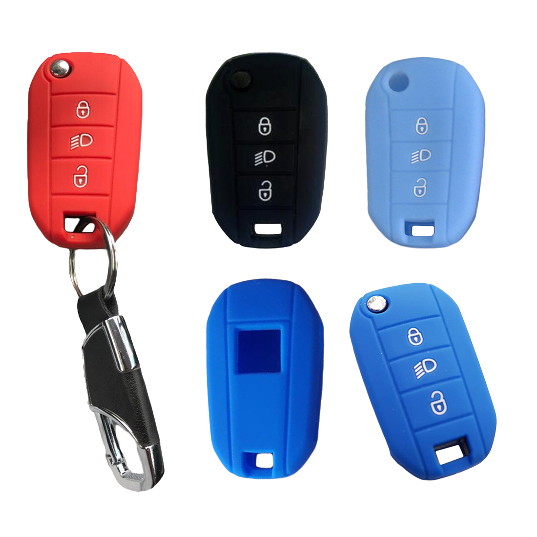Dewtreetali Car <font><b>Key</b></font> Fob Silicone Cover Case Shell Hood <font><b>Remote</b></font> Keyless Protector for <font><b>Peugeot</b></font> 3008 <font><b>208</b></font> 308 RCZ 508 408 2008 image
