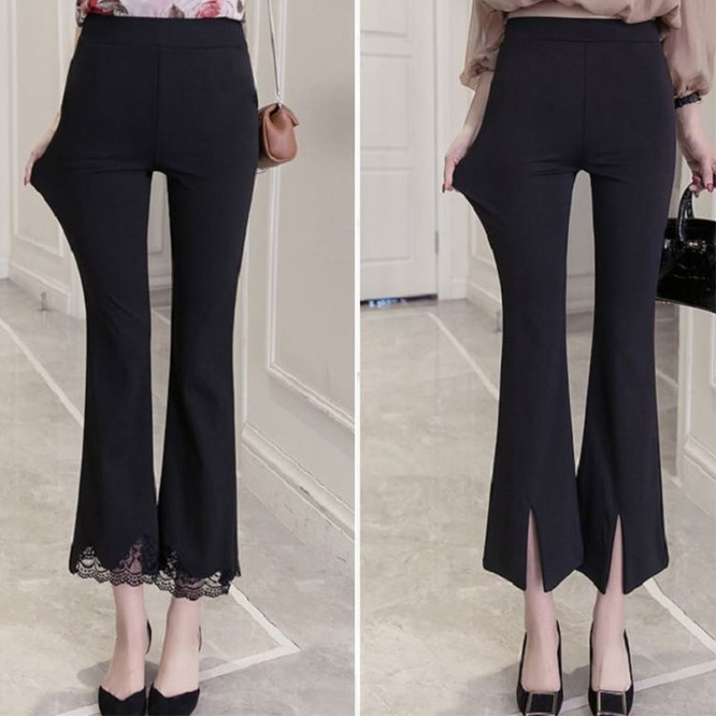 2020 Super Elastic High Waist Lace Micro Bell Pants Female Black Large Size Casual Split Nine Skinny Pants Students