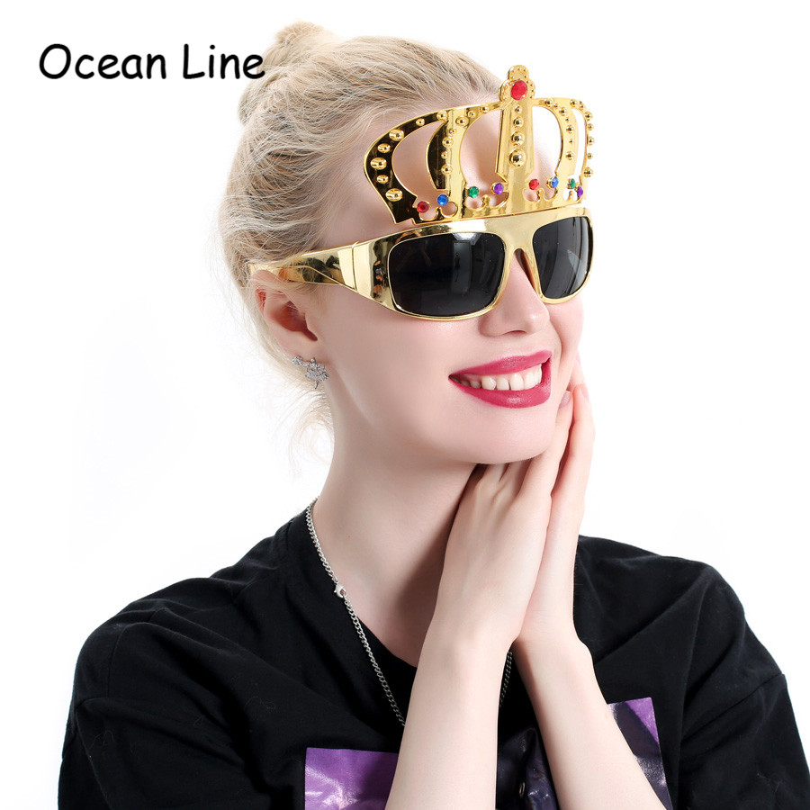 2e59c7e6fe0 Beautiful Crown with Jewel Hen Party Costume Glasses Electroplating  Sunglasses for Birthday Gift Party Supplies Decoration-in Party Masks from  Home   Garden ...