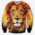 Мужчины 3D кофты принт животное лев пуловер толстовки осень / зима толстовка