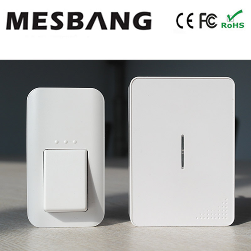 2017 no need battery and cable to install with  EU US  UK power plug Door Ring wireless Door bell 433hmz with Chime cacazi wireless cordless doorbell remote door bell chime one button and two receivers no need battery waterproof eu us uk plug