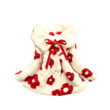 Fashion Baby Girls Floral Coat Warm Soft Faux Fur Girls Winter Jackets