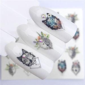 Image 4 - Adesivo de wolf para arte em unhas, decalque de transferência de água, ferramentas para arte de unha, decoração de manicure, 1 peça