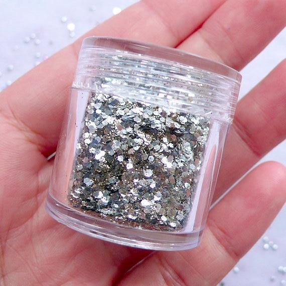 # Gfuh787 Heißer 1 Box Mixed Ultra Feine Shinning Silber Nagel Glitter Flake Staub Pulver Maniküre Diy Nail Art Dekoration 10 Ml Box
