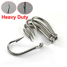 5PCS Ultra Strong Tuna Hook Big Game Saltwater Sea Fishing Hooks Stainless Steel Thick Wire Barbed 12/0 [YG0004]