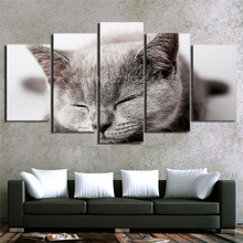 Unframed Canvas Wall Art Pictures HD Printed Cute Animal Painting Modern Living Room Poster Decor 5 Pcs Home Decoration Picture