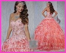 2015 Water Melon Ball Gowns Sweetheart Lace Beaded Vestidos de Quinceanera Dress Lace up E5948 недорго, оригинальная цена