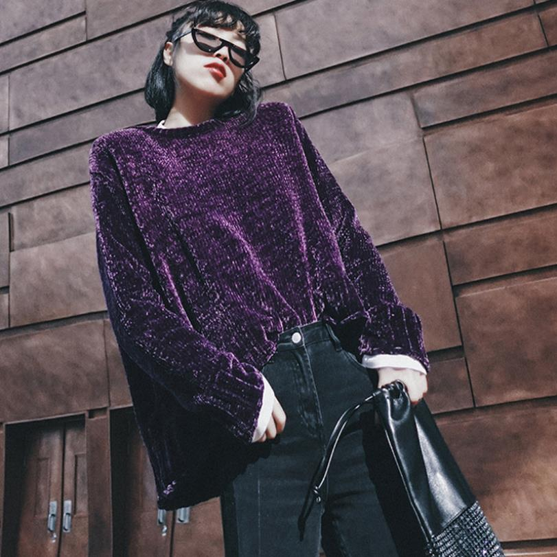 Púrpura O Estilo Elegante Gx1442 Suéter Casual Terciopelo Otoño Manga De Femenino Tops Suéteres Purple Larga Más Moda 2018 cuello q8wEvSRn