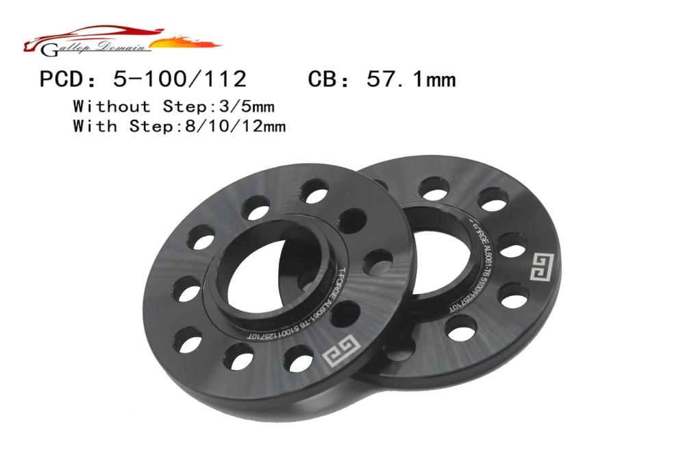 Wheel Slip On Spacers 8 mm 5x100 /& 5x112 CB 57.1 mm Hub Centric 2 PCS