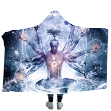 Indian Buddha Statue Printed Hooded Blanket For Adults Kids Sherpa Fleece Winter Throw Sofa Bed Cover Manta Cobertor Koc