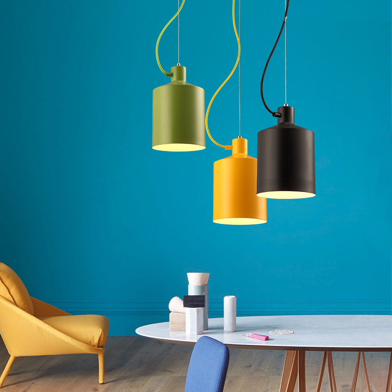 Nordic Creative Color Restaurant Chandelier Personality Cafe Living Room Bedroom Study Light Simple Hallway Lamp Free Shipping northern creative mix color retro restaurant chandelier edison bulb living room lamp bar lamp cafe light free shipping