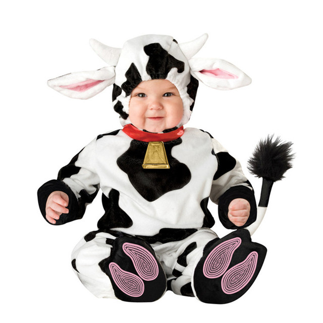 2485e9337 High Quality Baby Halloween Black/White Cow Kids Cosplay Costume Animals  Shaped Clothes Children Clothing