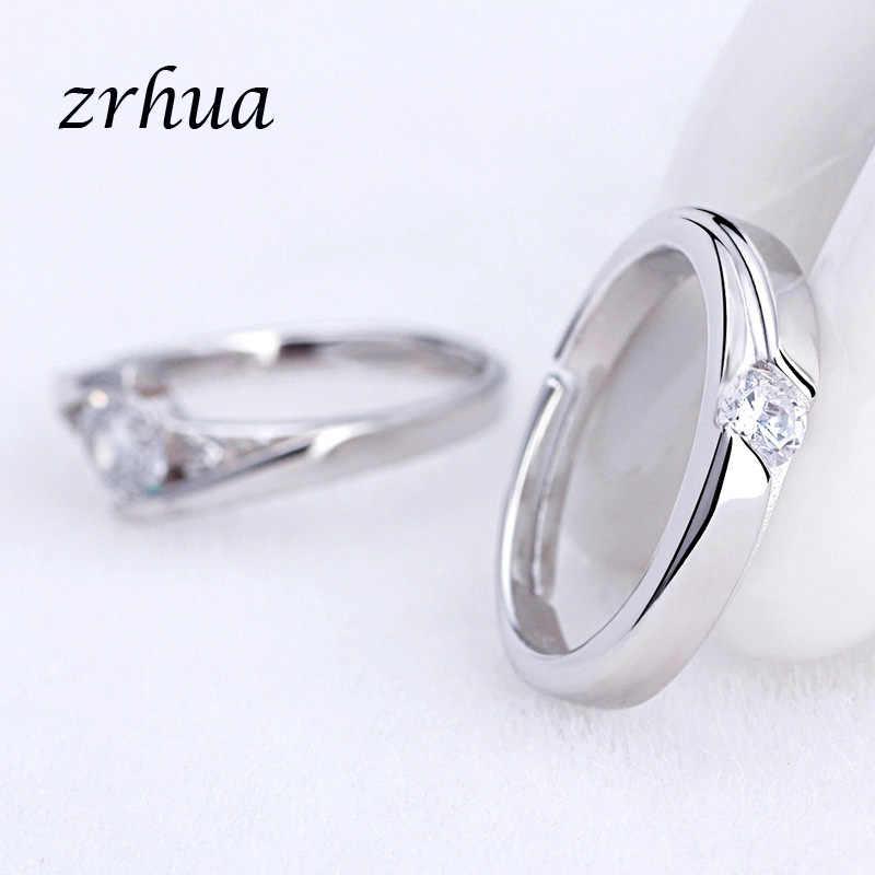 ZRHUA โรแมนติก 2PCS คู่แหวนคุณภาพสูง 925 เงินสเตอร์ลิงแสตมป์ Cubic Zirconia หมั้นแหวนเครื่องประดับ