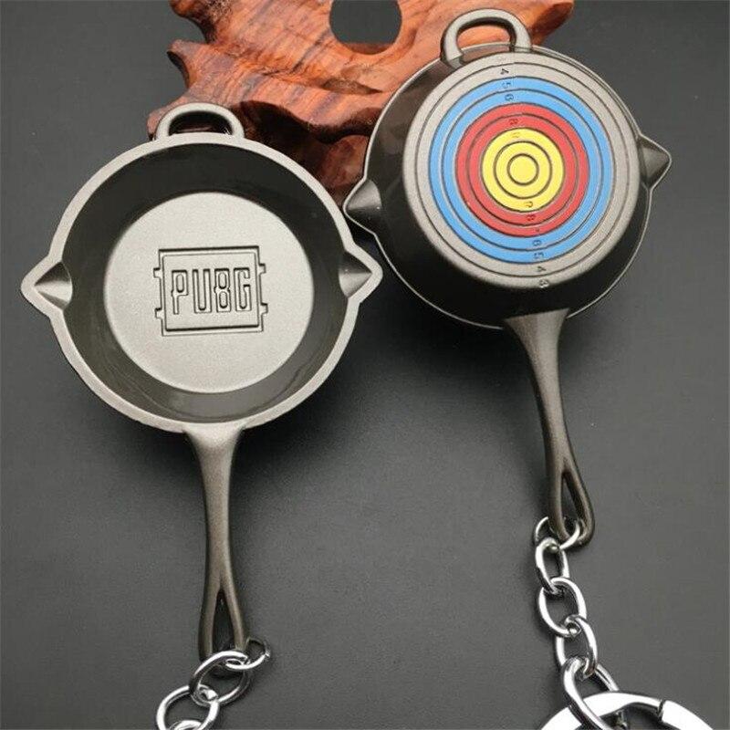 Game PUBG Key Chain Target Practice Pan Cosplay Badge Metal Silver  Black Frying Pan Personality Funny Fancy Christmas Gift
