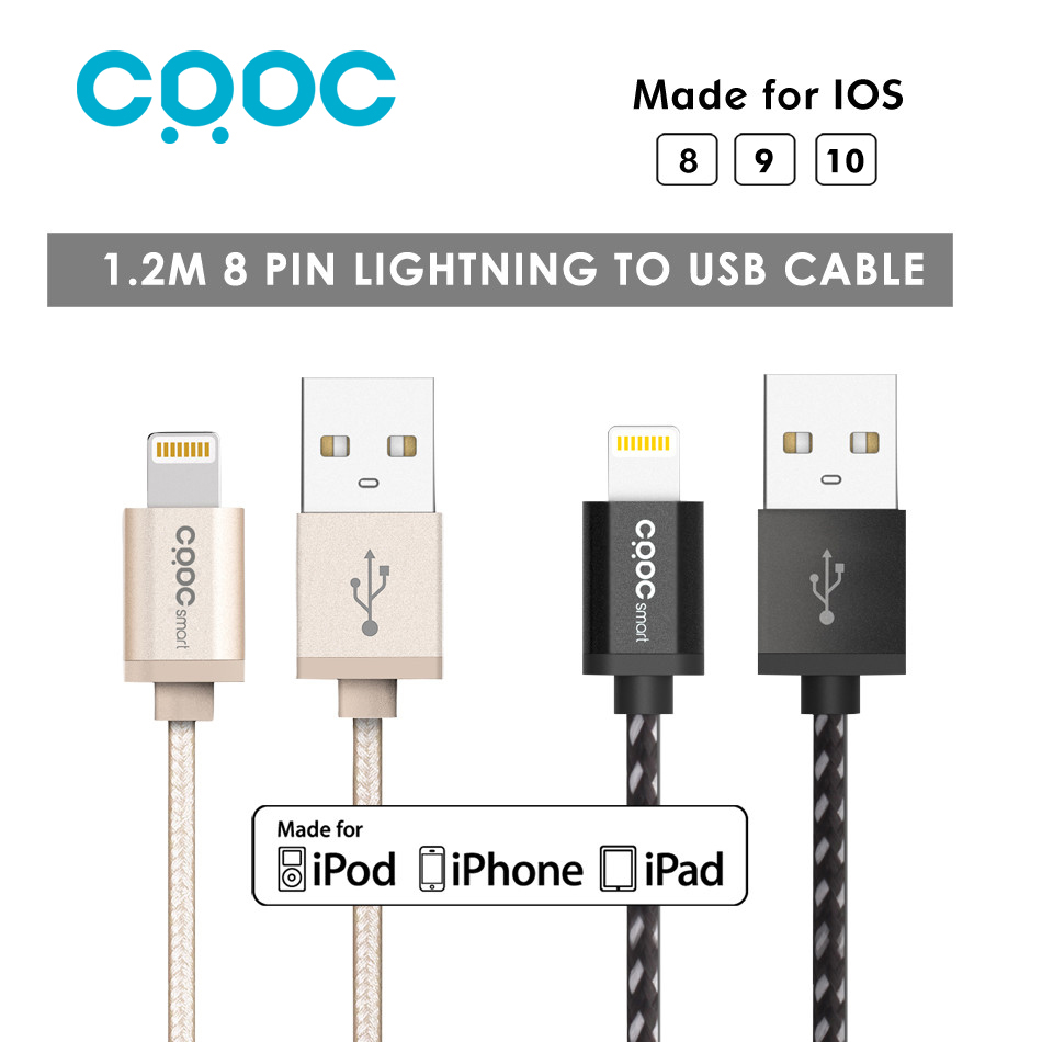 CRDC 1.2M Alloy Nylon MFi 8 Pin Usb Cable for Lightning Data...